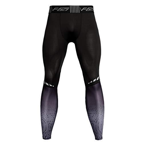 Garneck Männer Kompressionshose Turnhose Leggings Sporttraining Fitness-Strumpfhose Workout Capri Tummy Control Kleidung - XL (Grau)