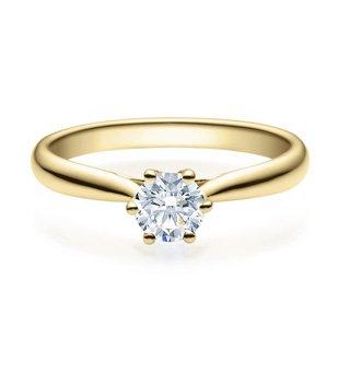 Rubin by Juwelier Fidan Verlobungsring mit Diamant in 585/- Gelbgold in 6er-Krappenfassung (56 (17.8), 0.40)