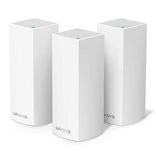 Linksys WHW0303 - Sistema Velop WiFi mesh tribanda para todo el hogar (router/extensor WiFi AC6600, sin interrupciones, controles parentales, hasta 525 m², paquete de 3 nodos, color blanco)
