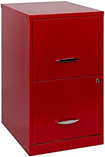 Hirsh SOHO 18 in Deep 2 Drawer Smart File Cabinet in Red