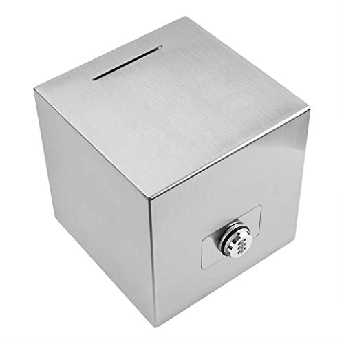 Safe Money Bank Coin Saving Pot Container, Stainless Steel Piggy Bank Can Not Take Out Silver Money Box Cube Large Adult Home 365 Days Plan Money Box Metal Coin Bank Box Money Banks Piggy Banks (Size