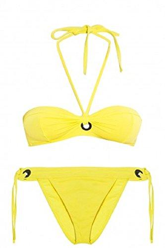 Proenza Schouler Women's Solids Grommet Bikini Set, Lemon, LG
