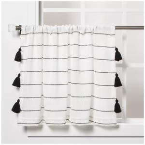 """Opalhouse 24""""x42"""" Contrast Stripe Light Filtering Curtain Tier with Tassel Black/White"""