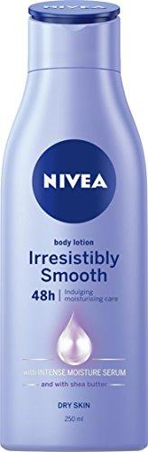 NIVEA Irresistibly Smooth Moisturising Body Lotion & Moisturiser with Intense Moisture Serum & Shea Butter for Dry Skin, 250ml