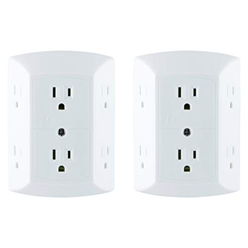 GE 6 Outlet Wall Plug Adapter Power Strip 2 Pack, Extra Wide Spaced Outlets, Power Adapter, 3 Prong, Multi Outlet Wall Charger, Quick