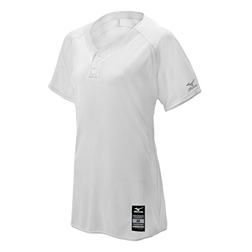 Mizuno Damen Erwachsene Fastpitch Softball Elite 2Tasten Spiel Jersey, Weiß, 3X Große