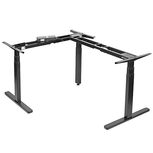 VIVO Black Electric Motor Height Adjustable Corner 3 Leg Standing Desk Frame, Frame Only, Sit Stand Ergonomic L Frame, DESK-V130EB