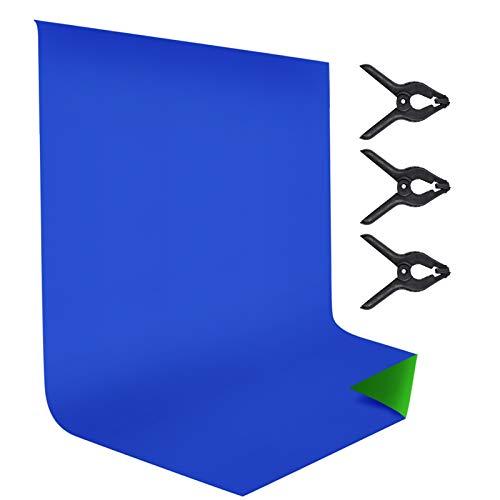 Andoer Fondos Fotográficos 9.8 * 6.6ft Azul y Verde 2 en 1 Croma Fondo, 100% Material de Poliéster-Algodón Plegable Muselina Backdrops, para Fotografía, Vídeo, Photo Studio y Live Webcast