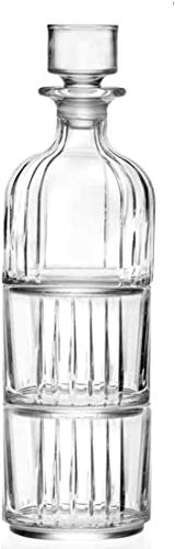 RCR Whisky Set Combo de 2piezas–+ 2vasos 1jarra, apilable, de piel de cristal Italiana