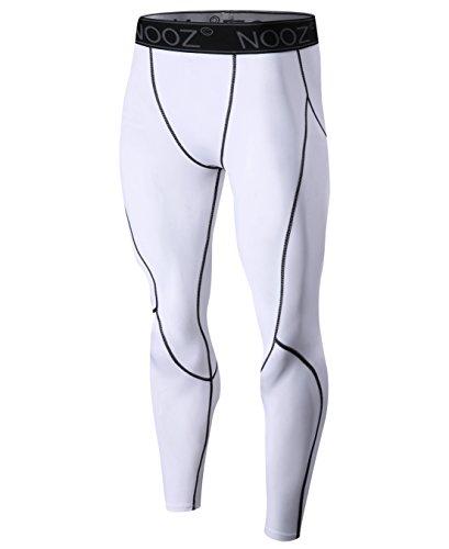 Nooz Herren Quick Dry Powerflex Compression Baselayer Pants Legging Tights für Männer - Weiß - Groß