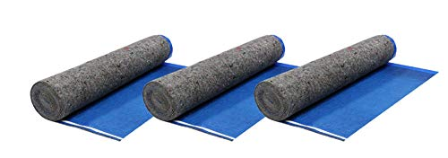 AMERIQUE 3.2 mm 5TH Generation Extreme Quiet Super Heavy Duty Felt 3-in-1 Underlayment Padding with Tape & Vapor Barrier, Royal Blue, 100 Square Feet (Pack of 3)