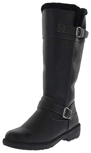 Weatherproof Womens Cold Weather Boots with Side Zipper (Bella) Waterproof Insulated Tall Winter Boots for Comfort, Durability - Keeps Feet Warm & Dry Black