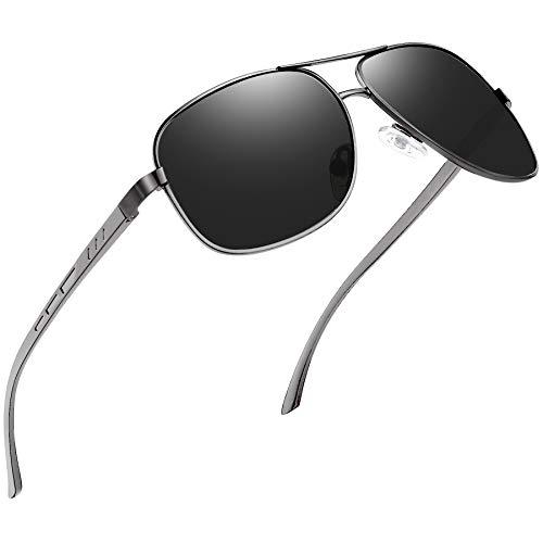 Óculos de Sol Masculino Polarizados Joopin Grande Armação Retangular Planas Metal Leve Dirigindo Óculos de Sol para Homens,Preto Lentes Espelhadas,Proteção UV400 (Freixo Preto)
