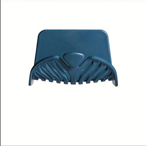 ZHDXW - Soporte de plástico para jabonera, con ganchos adhesivos, para baño, ducha, esponja, organizador para baño y baño, montaje en pared, color azul