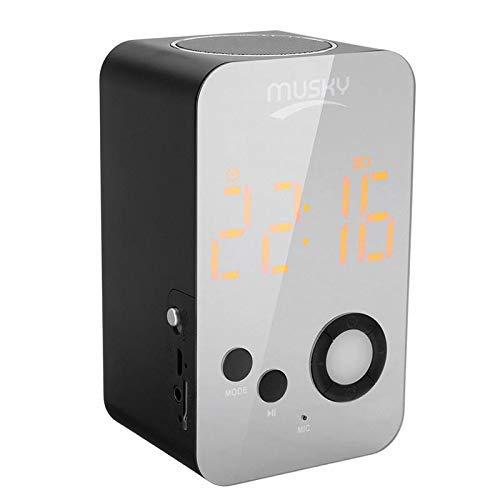 Tarjeta de sistema de altavoz del mezclador DJ Car Audio envolvente de forma de tarjeta Altavoz manos libre 2 en 1 alarma espejo LED altavoz inalámbrico Bluetooth Reloj HIFI Bass TF (Color: Ne