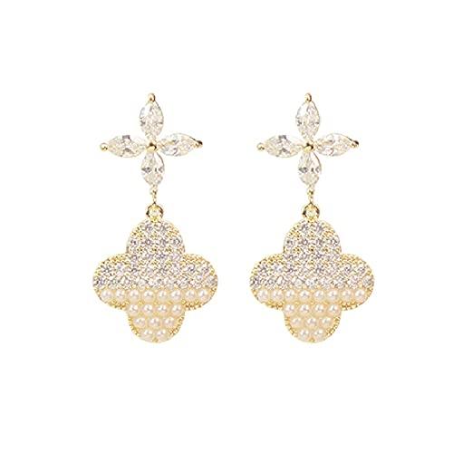 S925 Pendientes de trébol de diamantes de imitación de perlas Joyería de oreja de moda Pendientes de personalidad de perlas