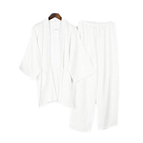 Abito da Due Pezzi in Stile Giapponese da Uomo in Cotone Sottile Accappatoio Pigiama Kimono Accappatoi Sleepwear-F02