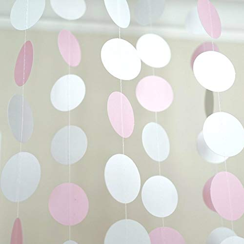 Pink White and Gray Circle Polka Dots Paper Garland Banner 10 FT Party Decor