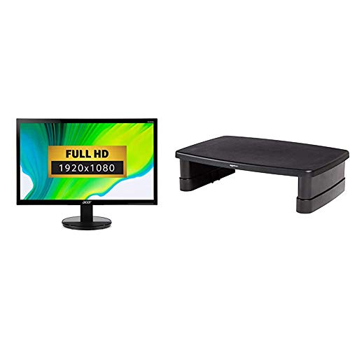 Acer K242HLbid 24 Inch FHD Monitor, Black (TN Panel, 5ms, HDMI, DVI) & AmazonBasics Adjustable Monitor Stand