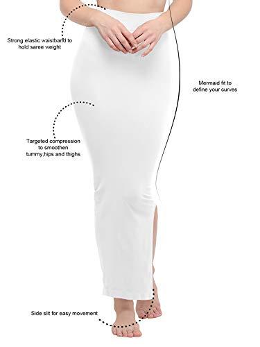 KANCHNAR Women's Vicose Saree Shapewear(31TK106-XL;White;X-Large)