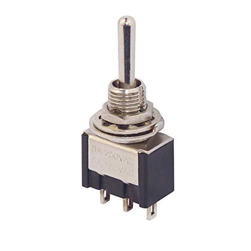 WITTKOWARE Schalter-Serie MTS - Miniatur Kippschalter/-Taster mit 6mm Einbaudurchmesser, 3A, 250V, 1-polig, EIN-AUS-(EIN)
