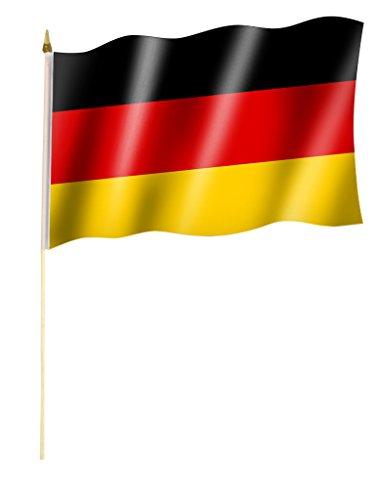 Stockflagge/Stockfahne DEUTSCHLAND ohne Wappen/Bundesadler Flagge/Fahne ca. 30 x 45 cm mit ca. 60cm Stab/Stock