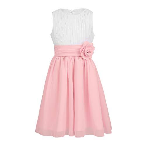 TiaoBug Festliches Mädchen Kleider für Hochzeit Sommer Brautjungfern Blumenmädchen Kinder Chiffon Kleid elegant zweifarbig Partykleid gr. 104-164 Weiß&Rosa 116