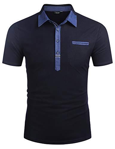 COOFANDY Herren Kurzarm Poloshirt Blau Polohemd Sommer Polo Shirts Slim Fit Polo Hemd Mit Kontrast Kragen Marine Blau M