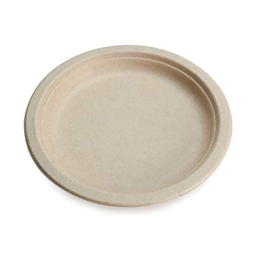 """100% Compostable Disposable Paper Plates Bulk [10"""" 50 Pack], Bamboo Plates, Eco Friendly, Biodegradable, Sturdy Large Dinner Party Plates, Heavy-Duty, Unbleached by Earth's Natural Alternative"""