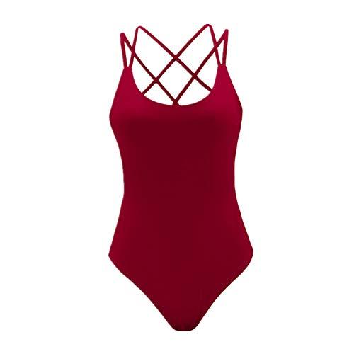 HuntDream Body de Fajas de Cuello Redondo Sexy para Mujer