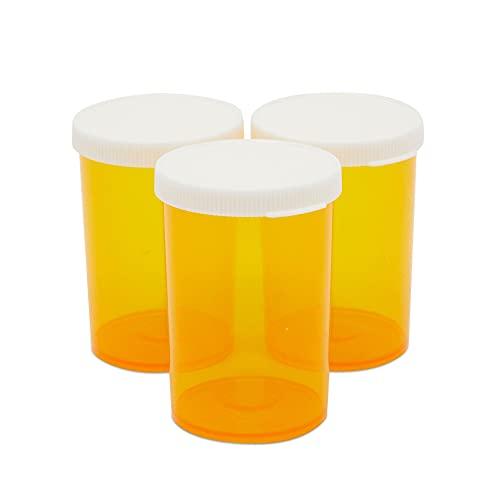 Empty Prescription Bottles with Lids, Plastic 20 Dram Pill Vials (Orange, 50 Pack)