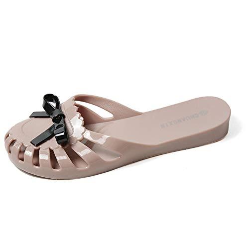 Geweldig uitziende flip-flop,Plastic gelei schoenen met platte hak, strand baotou pantoffels dames-abrikoos_40