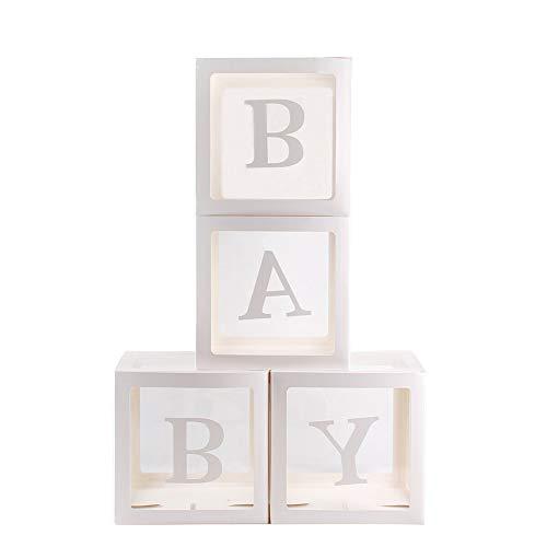 Giytoo, Set di 4 scatole quadrate trasparenti per palloncini, per battesimo e festa di compleanno