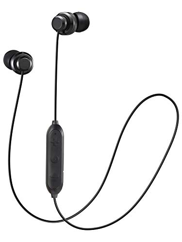 JVC Wireless Earbud Headphones, Sweat Proof, 5 Hours Long Battery Life, Secure and Comfort Fit with 3 Button Remote - HAFY8BTB (Black)