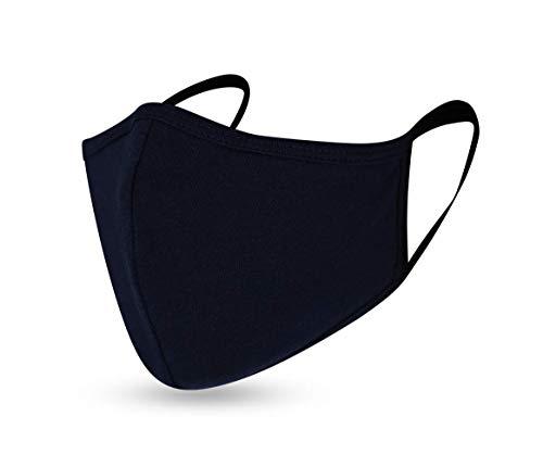 Humy Gesicht Maske, Mund Nasen Maske, Freizeit und Sport Maske, Schutzmaske, Atmungsaktiv (Größe S bis XL) (M, [M2] Humy Navy)