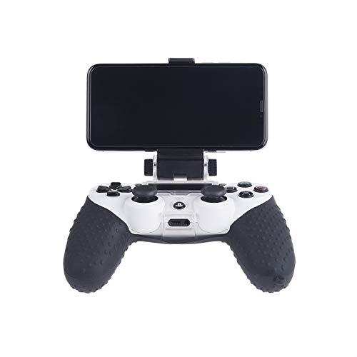 CAMKIX Telefonhalterung und Silikonhülle für PS4 Controller - Ideal für PS4 Remote Play/Mobile Gaming - Einstellbarer Betrachtungswinkel - Perfekte Passform Grip