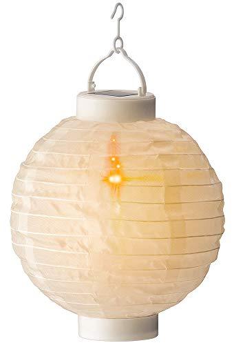 Solar Garten Lampion Weiß Laterne zum Aufhängen Flackereffekt LED Warmweiß 20cm