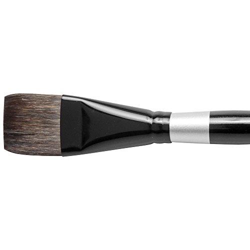 Silver Brush-Spazzola a manico corto, motivo scoiattolo e materiale sintetico, colore: nero, 32 mm
