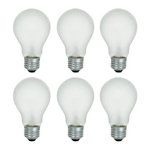 A19 Frosted Incandescent Rough Service Light Bulb, 60 Watt, 2700K Soft White, E26 Medium Base, 550 Lumens, 130V (6 Pack)