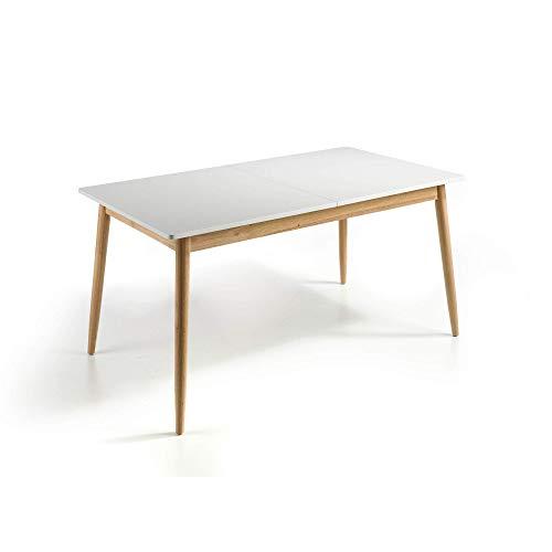 MOMMA HOME Mesa de Comedor Extensible - Modelo Lucas - Color Blanco/Roble - Material MDF/Roble - Medidas 120-160x80x76 cm