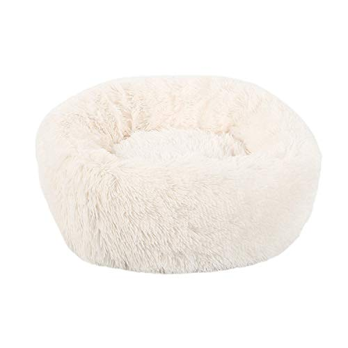 Almighty-shop Long Plush Soft Pet Dog Bed Gray Round Cat Winter Warm Sleeping Beds Bag Puppy Dog Cats Cushion Mat Portable Pets Supplies,White,60X20Cm