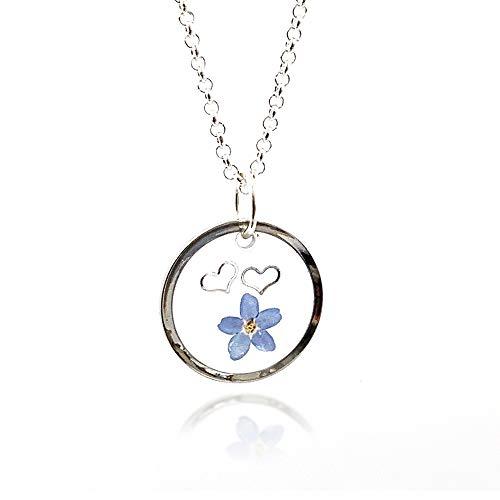 Meghan – Echte Vergissmeinnicht Blumen Halskette | Erinnerungsgeschenk | Freundin | Einzigartiges Geschenk für Frauen | 04BC