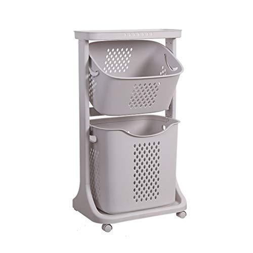 Panier à linge Panier de Rangement Angle réglable Portable ajouré Poulie Universelle Layered Design Ménage Toilettes Salle de Bains ZHJING (Color : A)