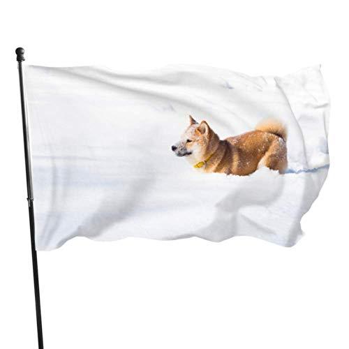 XiexHOME Netter Hund im Winter Schneewald Spielhaus Hof Flaggen Dekorationen Flaggen 3x5 Fuß Lebendige Farben Qualität Polyester und Messing Ösen