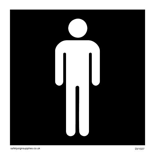 Viking Signs DV1027-S85-V mannelijk toiletsymbool - wc-deurbord, negatieve zwarte tekst, vinyl/sticker, 85 mm H x 85 mm W