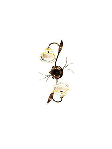 Ilab - Plafón de 2 luces, colección anita cerámica siciliana girasol, monta 2 bombillas E14, casquillo pequeño máx. 40 W, anchura 35 cm, altura 55 cm, profundidad 20 cm, plafón de cerámica
