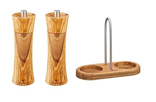 Zassenhaus zoutmolen en pepermolen met molenonderzetter met handvat olijfhout 022230 + 022223 + 036060