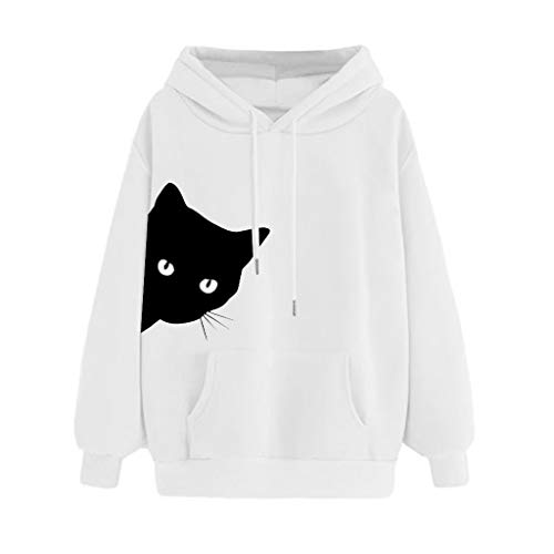%38 OFF! Goddesslili Womens Tops, Cute Cat Print Solid Color Cozy Long Sleeve Shirts Pullover Blouse...