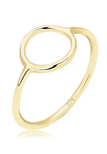 Elli PREMIUM Ring Damen Kreis Statement Geo Basic in 375 Gelbgold