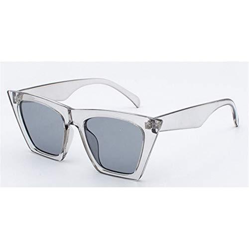 N\A Gafas de Sol de Moda 2019 nuevos Ojos de Gato Personalizados Sol Coloridas Gafas de Sol vidrios Cuadrados Tendencia versátil Gafas de Sol UV400 de la Cortina (Lenses Color : Transparent Gray)